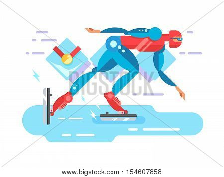 Ice speed skater cartoon character. Skating athlete, race competition, blade and rink, flat vector illustration