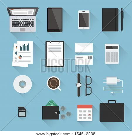 Business desktop objects set in flat style with light shadows: laptop tablet smartphone notebook envelopes calculator paperwork CD calendar adapter case purse with money watches. Top view.