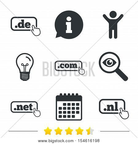 Top-level internet domain icons. De, Com, Net and Nl symbols with hand pointer. Unique national DNS names. Information, light bulb and calendar icons. Investigate magnifier. Vector