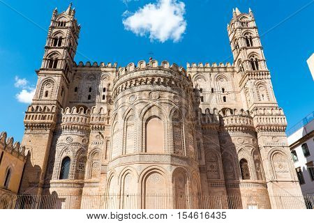 Backside of the huge cathedral in Palermo, Sicily