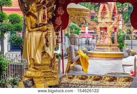 Bangkok, Thailand - January 8, 2016: Decoration and Gold Buddha Statue in Buddhist temple Wat Chana Songkhram. It is located near popular street Khaosan road and district for tourists.