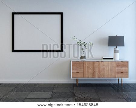 Mockup of a living room interior with empty picture frame on the wall and small wooden cabinet with lamp on a white wall. 3d Rendering.