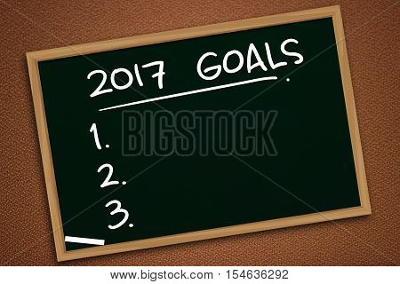 Illustration image of 2017 New Years Resolutions written with chalk on blackboard, chalkboard design, future goals