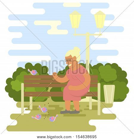 Elderly woman outdoors. Grandma are sitting on a bench in the park and feeds birds. Vector illustration of a flat design