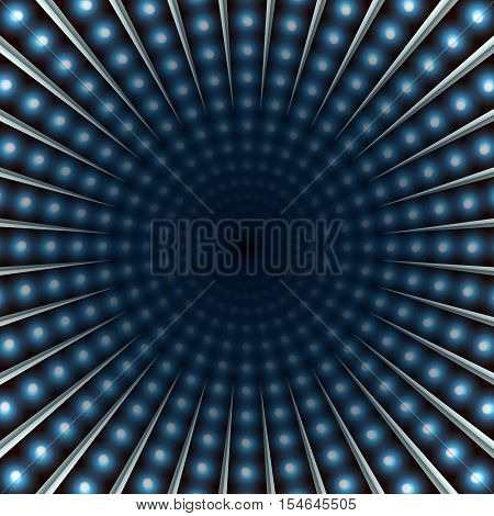 Colorful light tunnel abstract background. Light bulbs and metallic texture. Blue lights. Vector illustration.