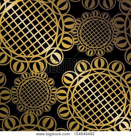 Vector black seamless wallpaper with golden circular design