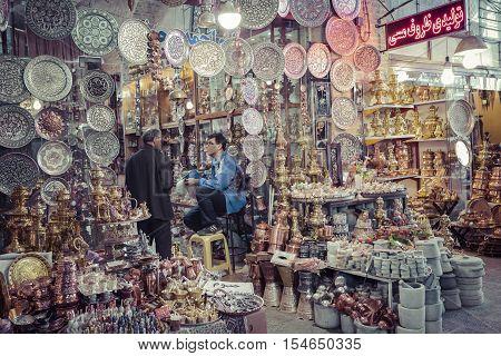 ISFAHAN IRAN - OCTOBER 06 2016: Traditional iranian market (Bazaar) metal souvenires lamps.