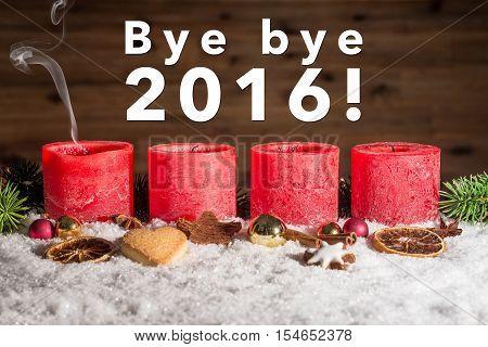 Four Blown Out Advent Candles With Bye Bye 2016