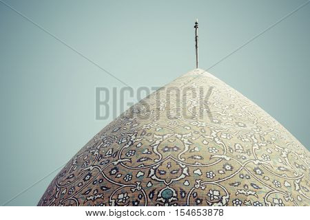 Yazd, Iran - October 07, 2016: Mosque Of Yazd In Iran. The Mosque Is Crowned By A Pair Of Minarets.