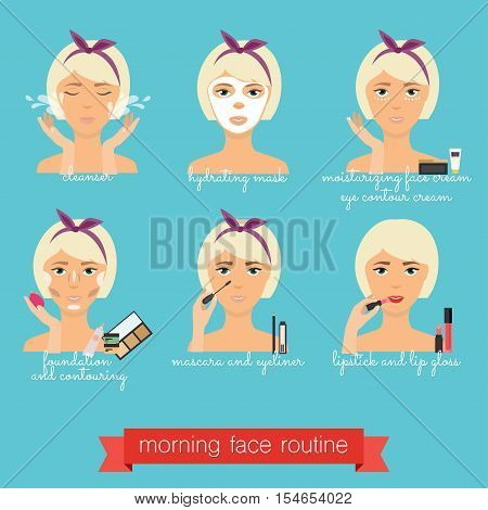 Morning  Face Care Routine. Everyday Skincare And Makeup.