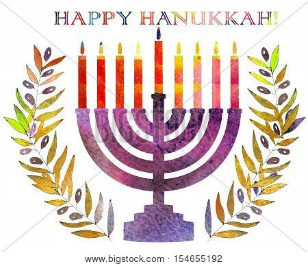 Jewish traditional holiday Hannukah. Greeting card with menorah and text Happy Hanukkah. Watercolor background.