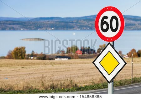 Main Road And Speed Limit Road Signs