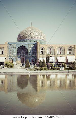 Isfahan, Iran - October 06, 2016: Sheikh Lotfollah Mosque At Naqhsh-e Jahan Square In Isfahan, Iran