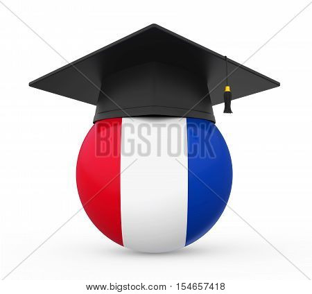 Graduation Cap with France Flag isolated on white background. 3D render