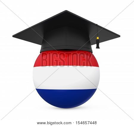 Graduation Cap with Netherlands Flag isolated on white background. 3D render