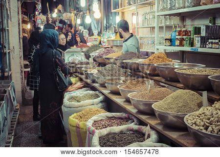 Isfahan, Iran - October 06, 2016: Traditional Iranian Market (bazaar)