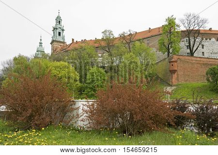 The Wawel Castle in the old town of Krakow Poland