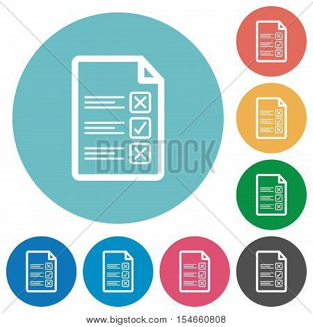 Questionnaire document flat white icons on round color background.
