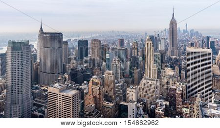 New York City - April 2015, USA: View of Manhattan from Rockefeller Center rooftop