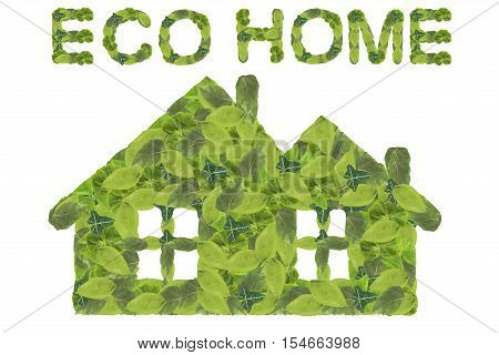 Eco home. Green home icon isolated on a white background.