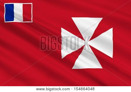 Flag of Uvea is one of the three official chiefdoms (Royaume coutumiers) of the French territory of Wallis and Futuna (the other two being Sigave and Alo) in Oceania in the South Pacific Ocean. 3d illustration