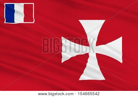 Flag of Wallis island is one of the three official chiefdoms (Royaume coutumiers) of the French territory of Wallis and Futuna (the other two being Sigave and Alo) in Oceania in the South Pacific Ocean. 3d illustration