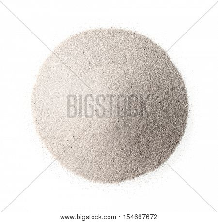Top view of white silica sand isolated on white