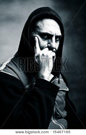 expressive man portrait in black and white