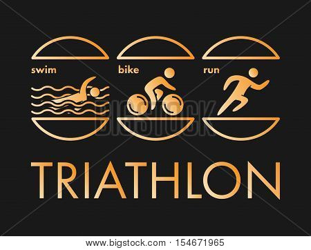 Triathlon logo and icon. Swimming cycling running symbols. Gold figures triathlete.