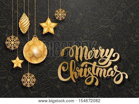 Festive Christmas Luxury Design with Golden Christmas Decorations and Seamless Pattern on Background. Calligraphy Inscription Merry Christmas. Vector Stock Illustration.