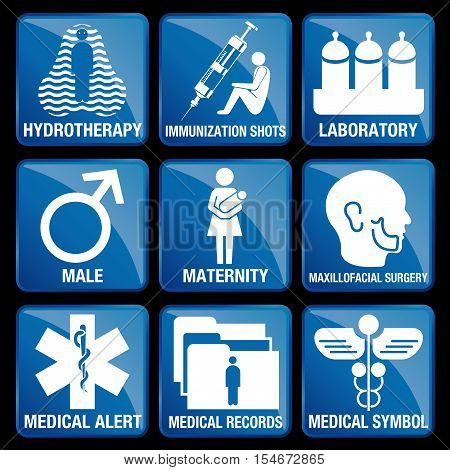 Set of Medical Icons in blue square background - HYDROTHERAPY, IMMUNIZATION SHOTS, LABORATORY, MALE, MATERNITY, MAXILLOFACIAL SURGERY, MEDICAL ALERT, MEDICAL RECORDS, MEDICAL SYMBOL