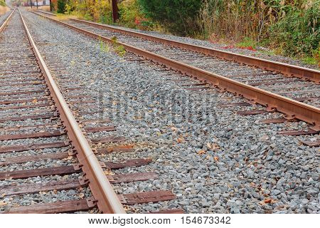 Railway tracks in a rural forest with white clouds. Empty railroad lines going to horizon. Two lines of railway road. Outdoor scene with railway road in forest. Railway tracks going to horizon.