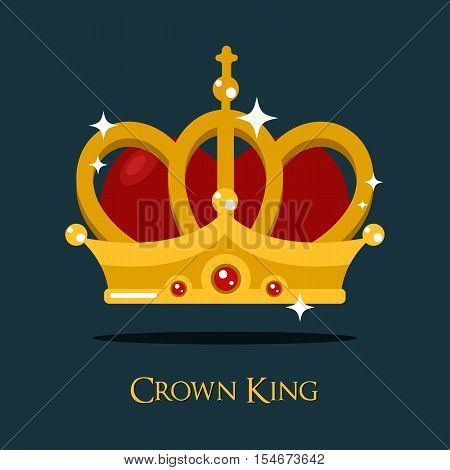 Crown of king or queen, princess or pope triada vector icon. Classic majestic or monarch gold crown, heraldic prince tiara or crown sign. For imperial vintage or old victorian crown for queen or king