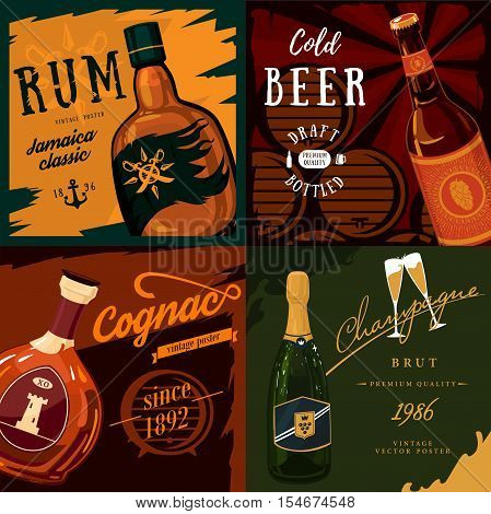 Alcohol bottles poster advertisement. Beer and champagne, cognac bottle and rum. May be used for pub banner and alcohol poster, bar placard, alcohol label and drinks theme