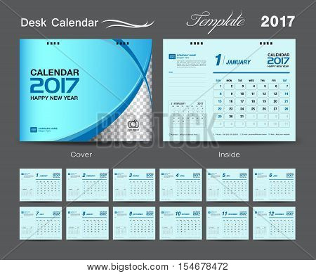 set Blue Desk Calendar 2017 template, design cover Desk Calendar, Calendar 2017, Business flyer design, cover template