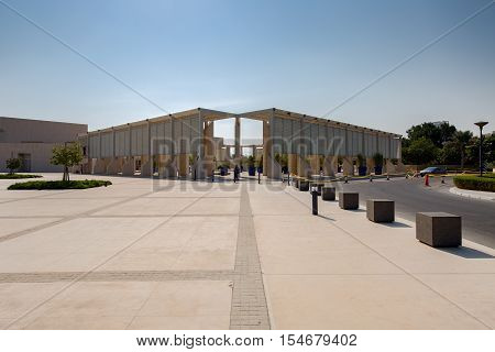MANAMA, BAHRAIN - OCT 29, 2016: View of the Bahrain National Museum entrance.