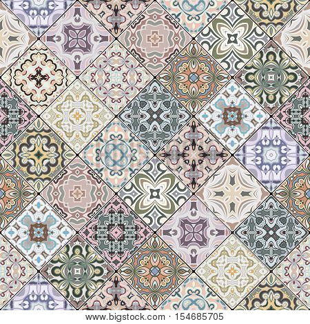 Brown, green and blue abstract patterns in the mosaic set. Square scraps in oriental style. Vector illustration. Ideal for printing on fabric or paper.