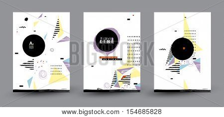 Three Abstract Geometric compositions for Modern Cover Design. Black Label with Place for Logo. Standard paper size.