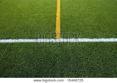 lines in the grass field of a stadium
