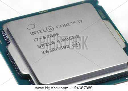 GLALTI ROMANIA November 02 2016: Close-up of Intel Core i7-6700K isolated on white background. Founded in 1968 Intel is one of the worlds largest semiconductor chip makers and the inventor of x86 processors found in most computers.