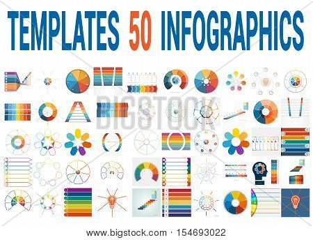 50 Vector Templates for Infographics pie chart ring chart area chart timeline list diagram with text areas for seven positions.