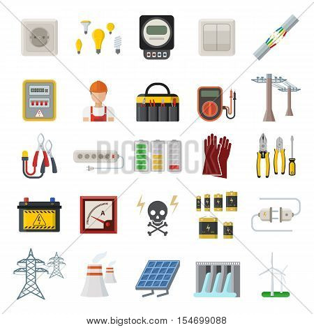 Energy, electricity, power icons. Wind ecology sun energy icons illustration oil battery vector. Energy icons environment, electricity vector solar bulb water nature renewable.