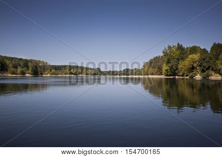 Landscape on the river Lot in Aquitaine France