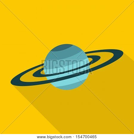 Saturn icon. Flat illustration of Saturn vector icon for web isolated on yellow background
