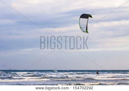Kitesurfing On A Lady's Mile Beach, Limassol, Cyprus