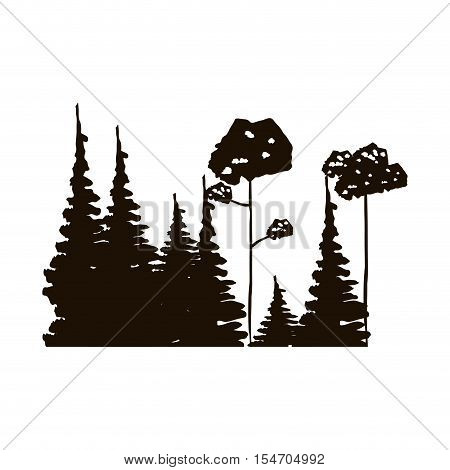 monochrome forest with pines and leafy trees vector illustration