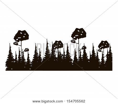 monochrome panoramic forest with pines and leafy trees vector illustration