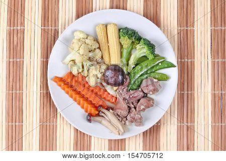 Fried mixed vegetable with chicken hearts-gizzard-liver ,as corn,carrot,peas,cauliflower,block kerry,himeji mushroom and shiitake.