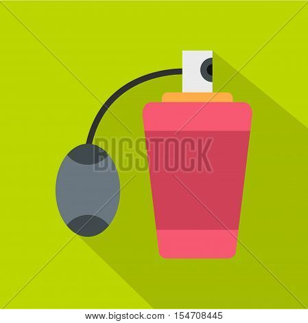 Pink perfume bottle with vaporizer icon. Flat illustration of perfume bottle with vaporizer vector icon for web isolated on green background
