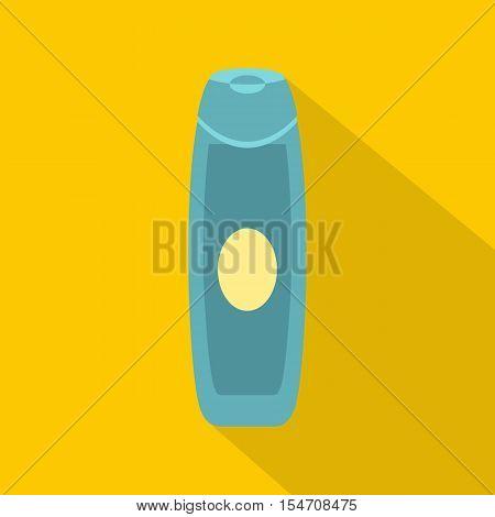 Shampoo bottle icon. Flat illustration of shampoo bottle vector icon for web isolated on yellow background
